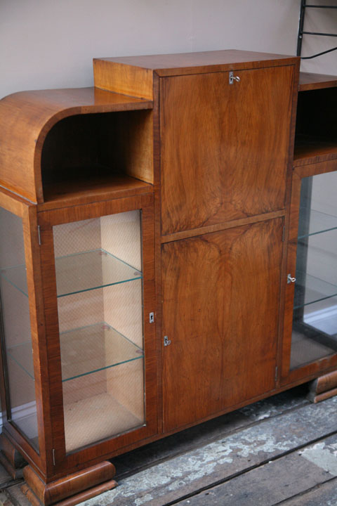 1930s Display Cabinet And Bureau Cream And Chrome