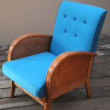 1940s Wooden Turquoise & Teal Armchair (1)