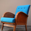 1940s Wooden Turquoise & Teal Armchair