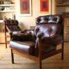 1960s Guy Rogers Leather Armchairs