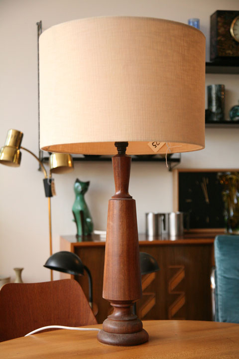 1960s Teak Table Lamp and Shade