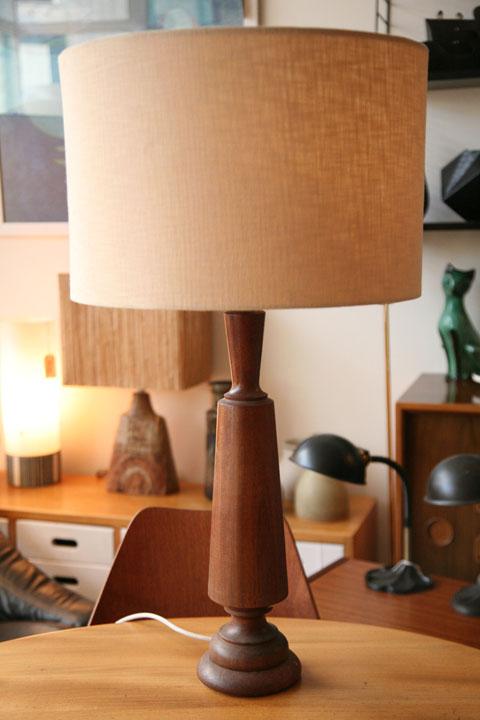 1960s Teak Table Lamp Cream And Chrome