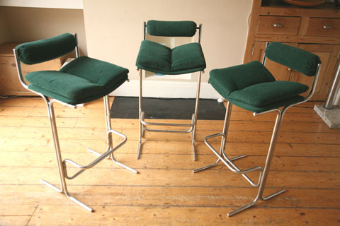 1970s Bar Stools By Pieff Uk Cream And Chrome