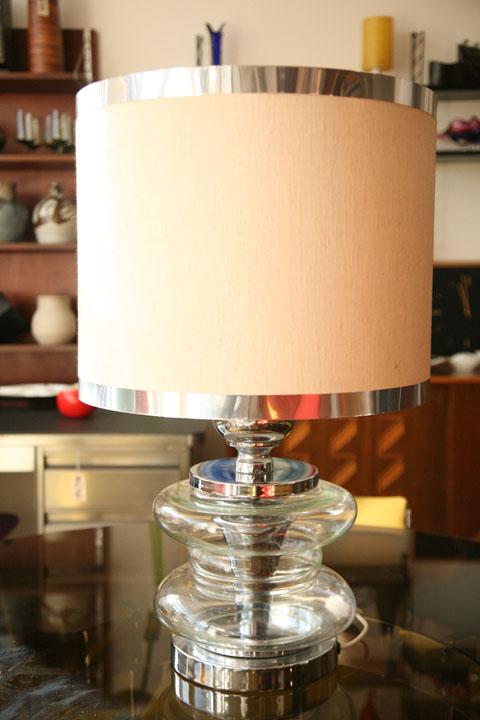 1970s Glass Chrome Table Lamp (2)