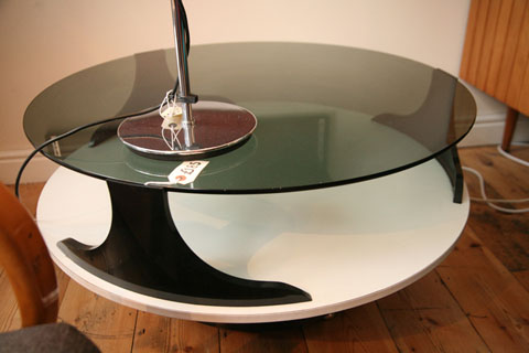 1970s Space Age Glass Coffee Table Cream And Chrome