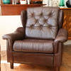 Brown leather Danish Armchair