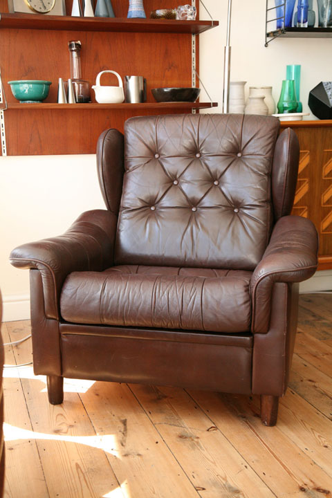 Brown leather Danish Armchair (1)