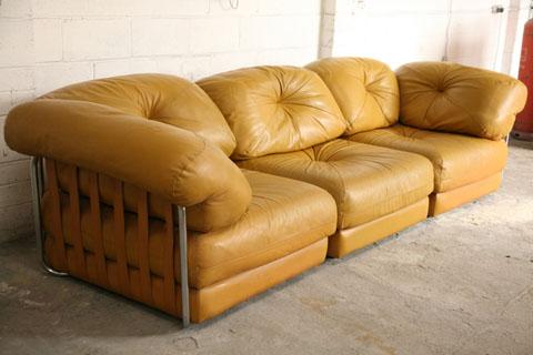Large 1970s Leather Modular Sofa Cream And Chrome