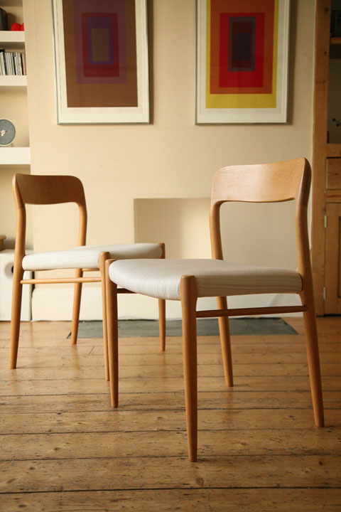 Vintage Moller Dining Chairs ~ Niels moller oak dining chairs cream and chrome