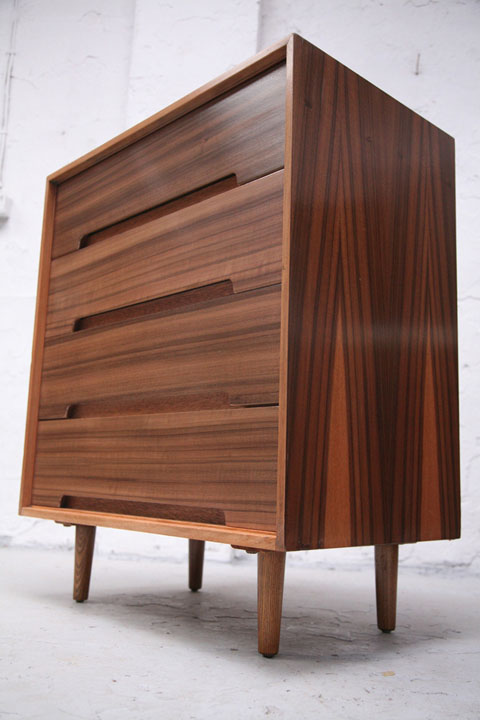 Walnut Chest Of Drawers By Stag Cream And Chrome