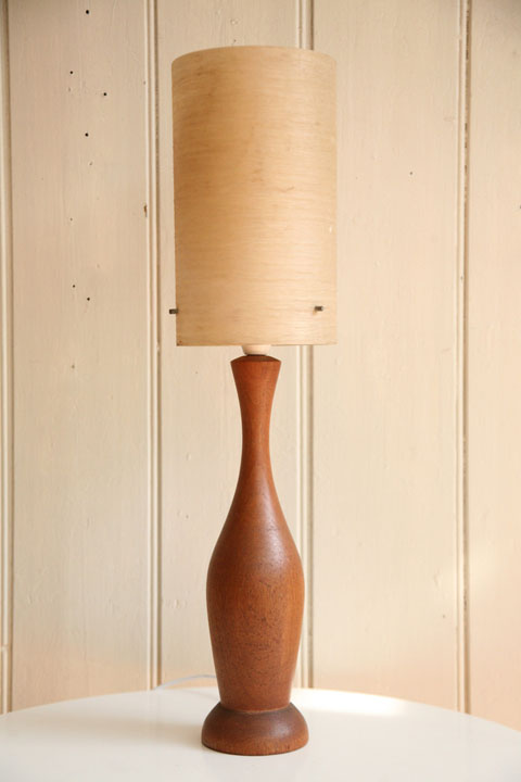 Teak Table Lamp with Fibreglass Shade