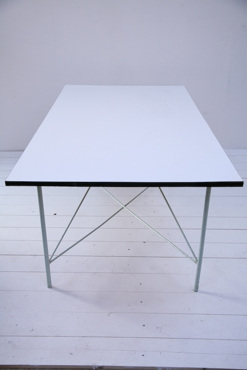 Modernist dining table cream and chrome for 10 table cream