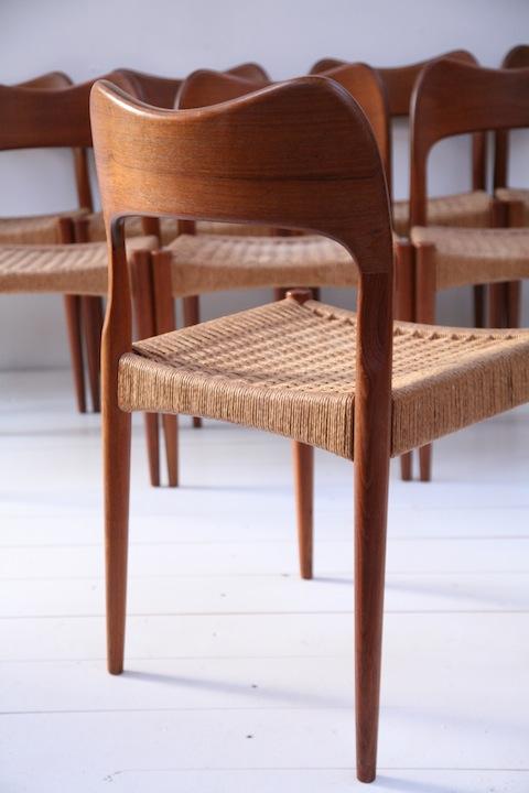 Set Of 8 Teak Dining Chairs Designed By Arne Hovmand Olsen