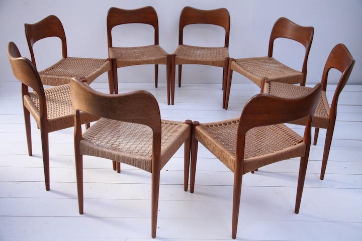 Set Of 8 Teak Dining Chairs Designed By Arne Hovmand Olsen Cream And Chrome