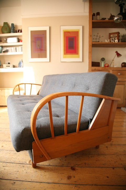 1950s Grey Modernist Sofa Bed