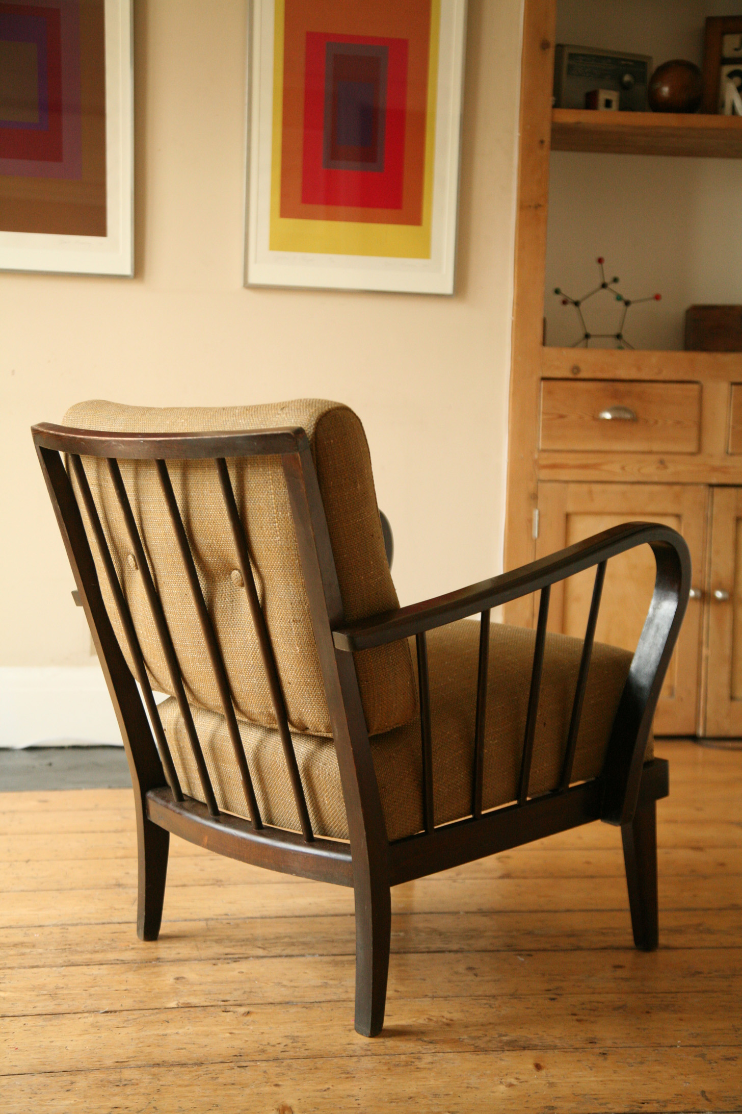 1950s Lounge Chair Cream And Chrome