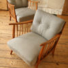 Pair of Modernist Armchairs Grey Upholstery (1)