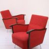 Pair of Red 1950s Lounge Chairs