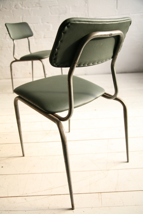 1950s Green Leather Industrial Side Chair Cream And Chrome