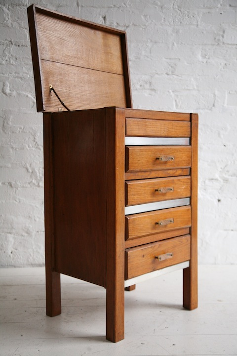 Vintage 1930s Chest Of Drawers Cream And Chrome