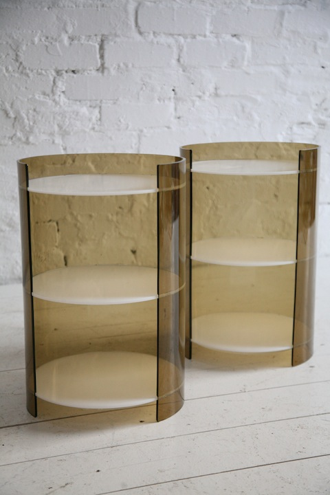 Cream Bedside Tables: Pair Of 1960s Perspex Bedside Tables