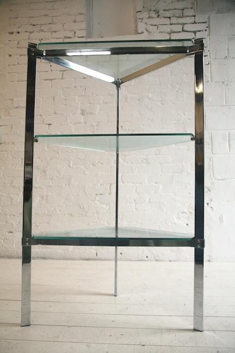Glass and Chrome Shelving Unit by Merrow Associates UK