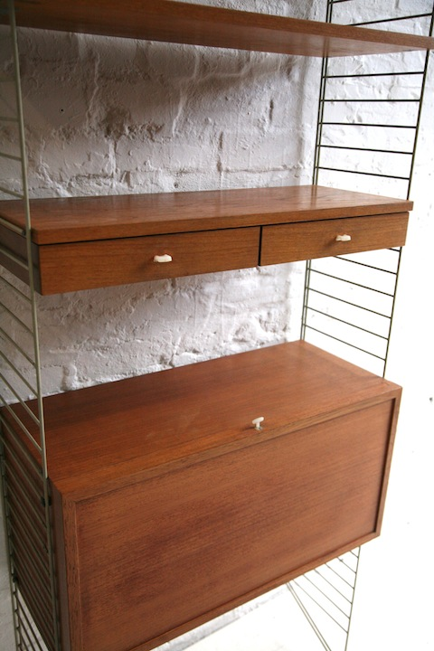 Nisse Strinning 1960s teak shelving system by nisse strinning and chrome