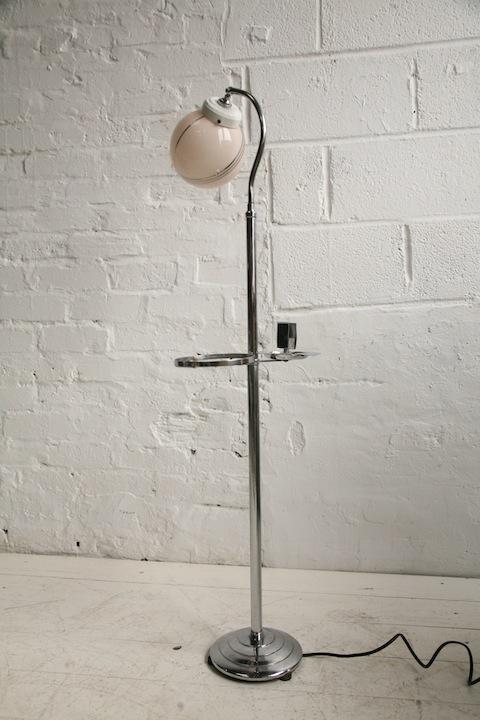 Art Deco Floor Lamp Cream And Chrome
