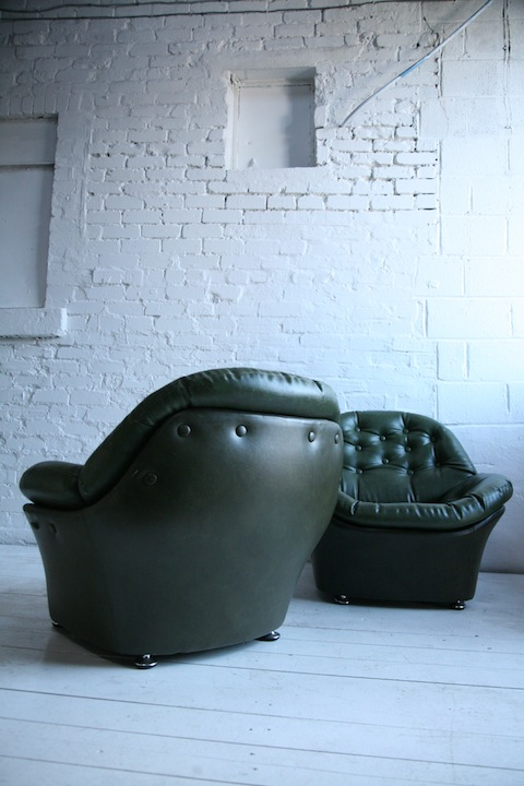 1970s Green Vinyl Bucket Chairs Cream And Chrome
