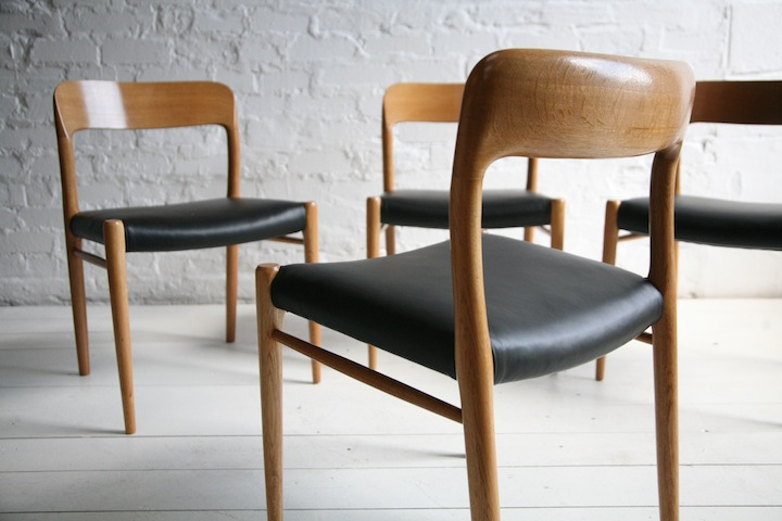 Vintage Moller Dining Chairs ~ Set of oak and leather model chairs by niels o