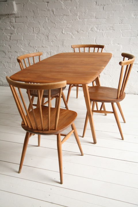 1960s dining set by ercol cream and chrome