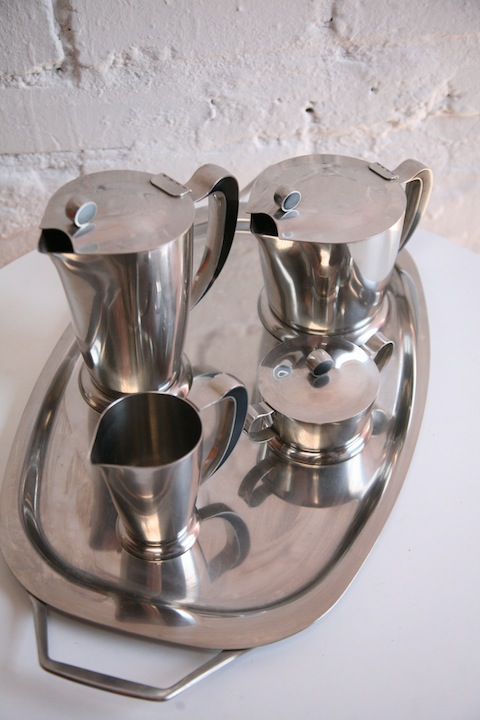 Stainless Steel Coffee Set And Tray By Gense Sweden