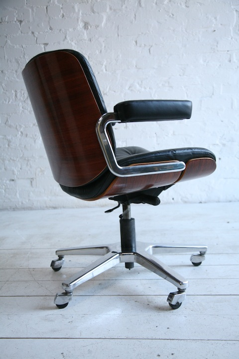 1970s Giroflex Rosewood And Leather Desk Chair Cream And