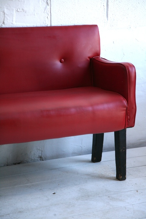 1950s Red Vinyl Bench