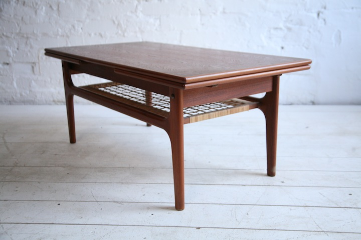 Teak Extending Coffee Table By Trioh Denmark Cream And Chrome
