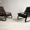 1970s Leather Lounge Chairs 1