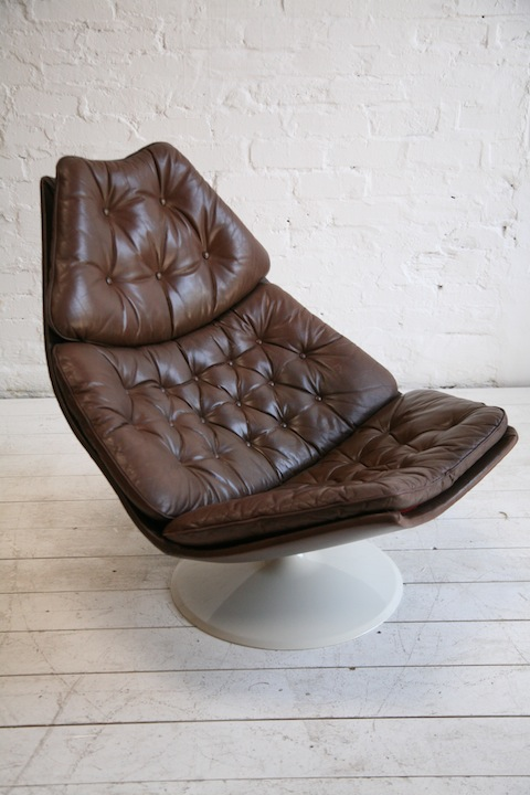 F585 Leather Lounge Chair By Geoffrey Harcourt Cream And
