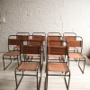 Set of 10 Industrial Stacking Chairs
