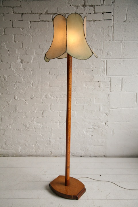 1930s Floor Lamp Cream And Chrome