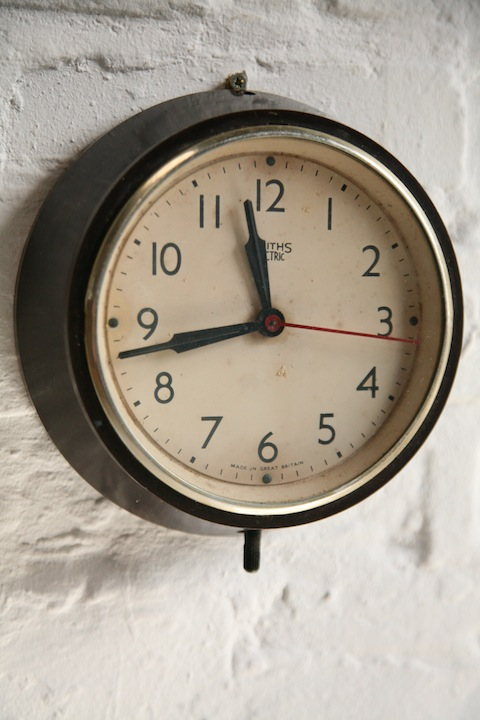 1950s Bakelite Wall Clock By Smiths Cream And Chrome