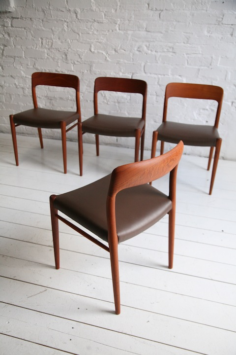 Set of 4 Teak and Leather Model 75 Chairs by Niels O Mller