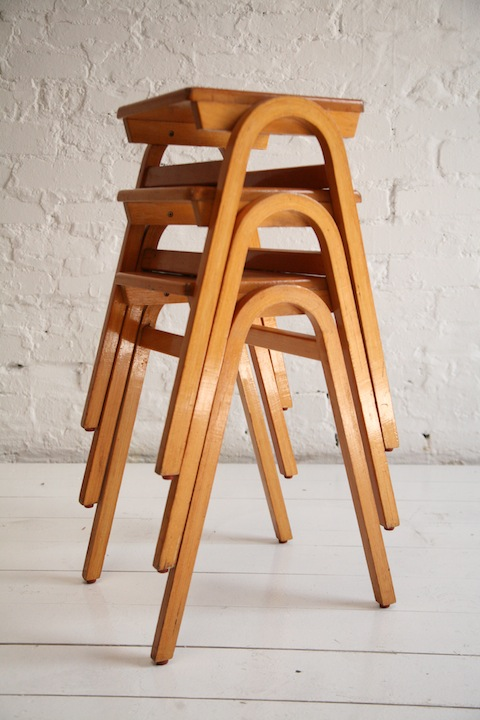 Vintage Stacking Bentwood Barstools Cream And Chrome