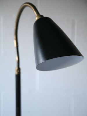 1950s Brass Black Floor Lamp