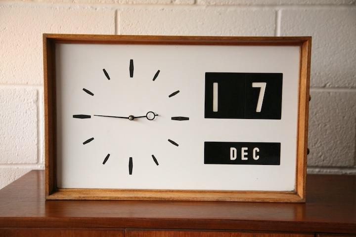 1960s Teak Date Clock Cream And Chrome
