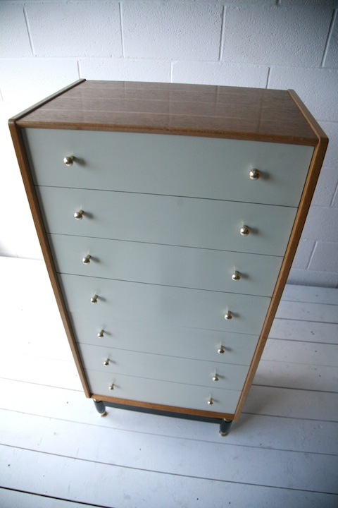 1960s Oak Tallboy By G Plan Cream And Chrome