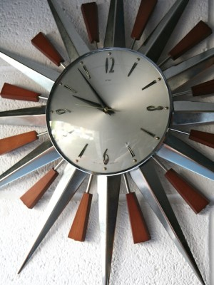 1960s Sunburst Wall Clock