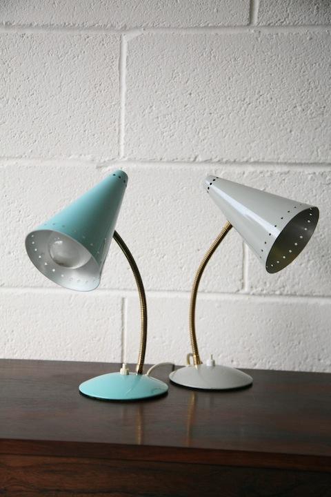 1950s Desk Lamps : Cream and Chrome