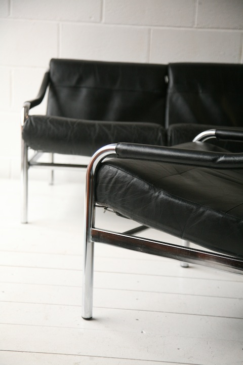 1970s Sofa And Chair By Pieff Uk Cream And Chrome