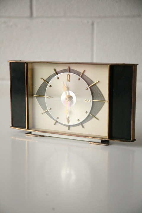 1950s Metamec Mantle Clock Cream And Chrome