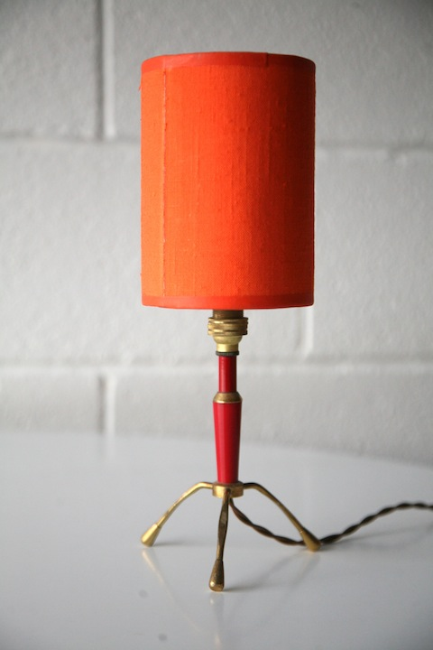 1950s Small Table Lamp and Orange Shade